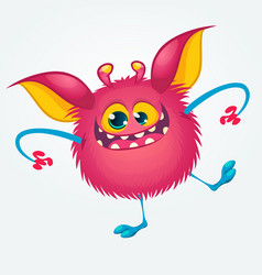 Cartoon pleased funny monster dancing vector