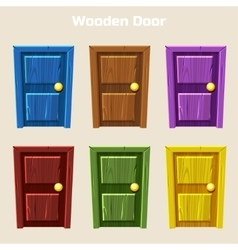 Cartoon Wooden Colorful Door vector