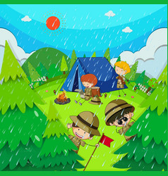 children camping in park on rainy day vector image