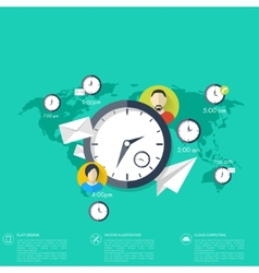 Clock flat icon World time concept Business vector