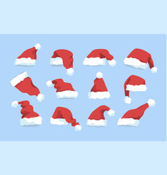 Collection of santa claus red winter hats isolated vector
