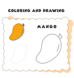 coloring and drawing book element mango drawing vector image