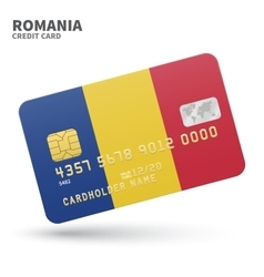 Credit card with Romania flag background for bank vector