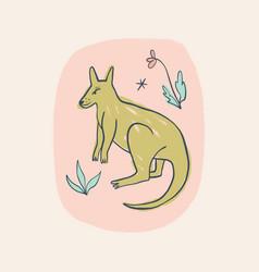 cute baby kangaroo australian animal cartoon vector image