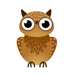 Cute big brown owl bird with black eyes vector