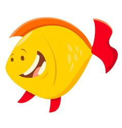 cute cartoon fish animal character vector image