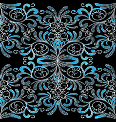 Damask seamless pattern floral vintage black blue vector