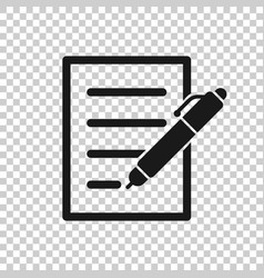 Document with pen icon in transparent style vector