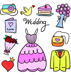 doodle of object wedding party vector image