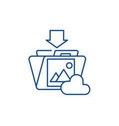 file upload line icon concept file upload flat vector image