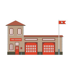 Fire station building icon flat vector