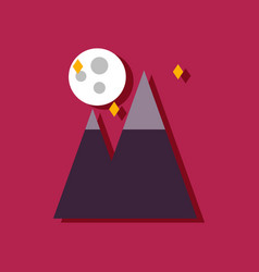 Flat icon design collection moon and pyramids in vector