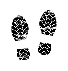 footprints and shoeprints icon in black and white vector image