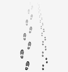 footprints man and dog vector image