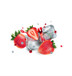 fresh strawberries with ice cubes and water and vector image