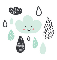 funny colorful drops of rain clouds and rain drops vector image