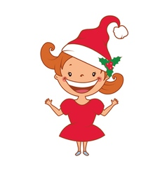 Funny smiling little girl in santas hat vector