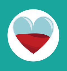glass heart blood donation icon vector image