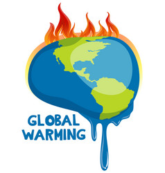global warming poster with melting earth vector image