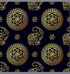 Gold elephant seamless pattern vector