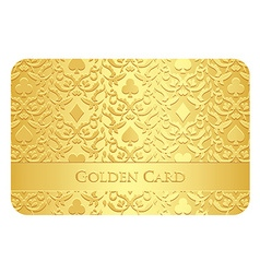 Golden card with card symbols ornament vector
