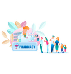 group people standing line pharmacy vector image