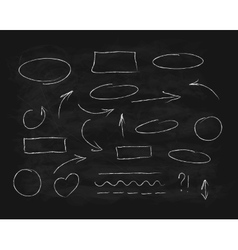 Hand-drawn chalk scribble design elements vector image