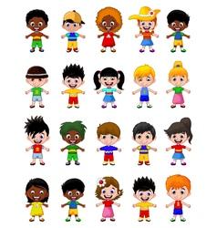 happy boy kids cartoon collection vector image