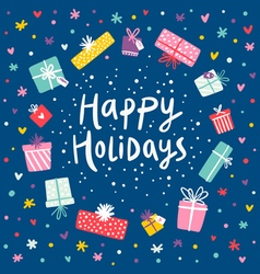 Happy holidays gift frame card vector