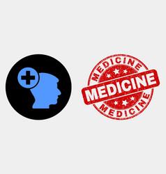 Head medicine icon and distress medicine vector