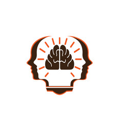 head person with brain in book for logo vector image