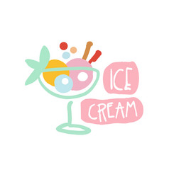 ice cream logo template colorful hand drawn vector image