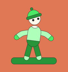 Icon in flat design snowboarder vector