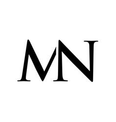 Initial mn alphabet logo design template vector