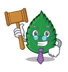 Judge mint leaves mascot cartoon vector