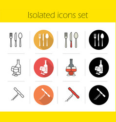 kitchen items icons set vector image