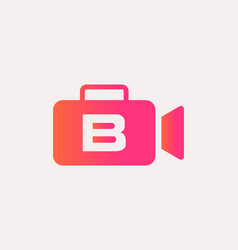 Letter b for cinema film and videography logo vector
