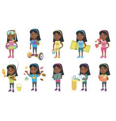 little african girl set vector image