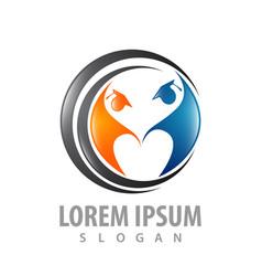 logo concept design graduation people symbol vector image