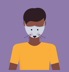 Man wearing protective mask with mouse face smog vector