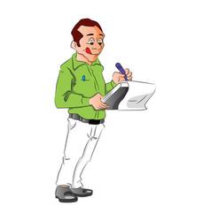 Man writing notes vector