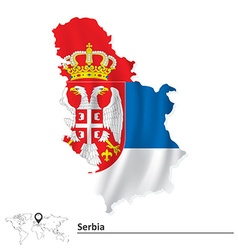 Map of Serbia with flag vector image