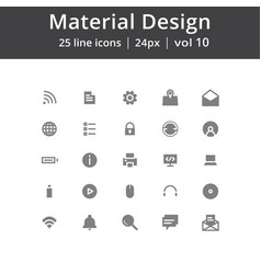 Material design ui line icons vector
