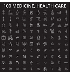 medicine health care editable line icons vector image