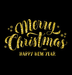 merry christmas greeting in glitter vector image