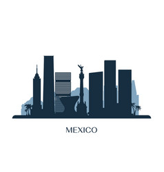 Mexico skyline monochrome silhouette vector