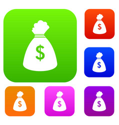 Money bag set collection vector