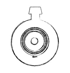 Monochrome sketch of video security camera lens vector