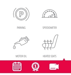 Motor oil parking and speedometer icons vector
