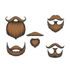 moustache and beard color sketch engraving vector image